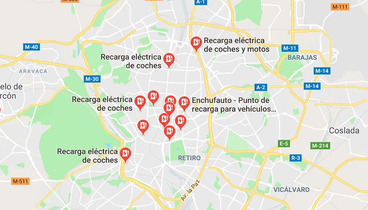 Cargadores eléctricos Google Maps